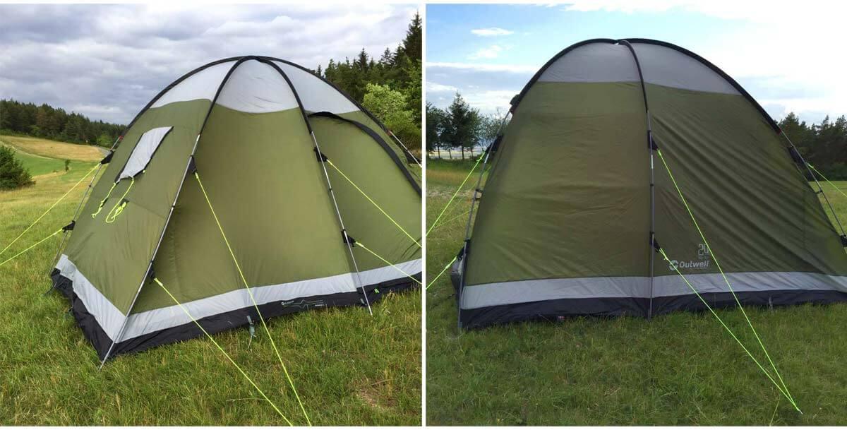 links: Blick aufs Zelt von schräg hinten - rechts: Der Vollständigkeit halber auch mal ein Foto von der Rückseite des Zeltes