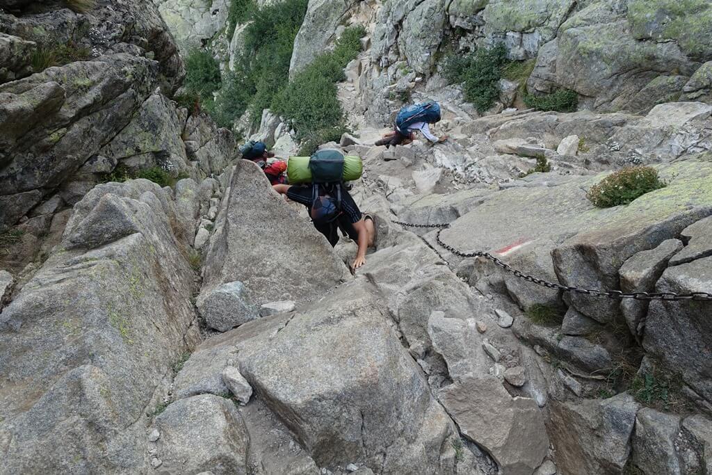 Fernwanderweg GR 20 auf Korsika. 8. Etappe vom Refuge de Petra Piana zum Refuge de l'Onda