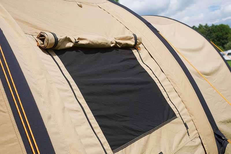 Das Fenster des Eureka Poso Creek BTC RS. Detail des Eureka Polycotton Zelt