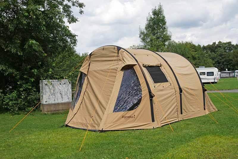 Eureka Poso Creek BTC RS Polycotton Zelt aufgeebaut. Raumangebot für 4 Personen.