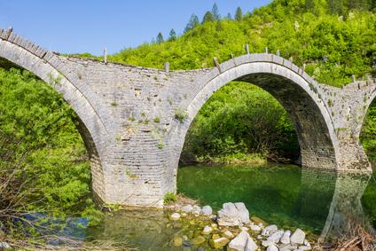 Das Ziel der 4. Etappe des Zagoria Trek, Kipi mit seinen schönen Brücken.