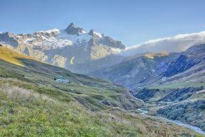 Blick vom Ville de Glaciers. Auf der 3. Etappe der Tour du Mont Blanc