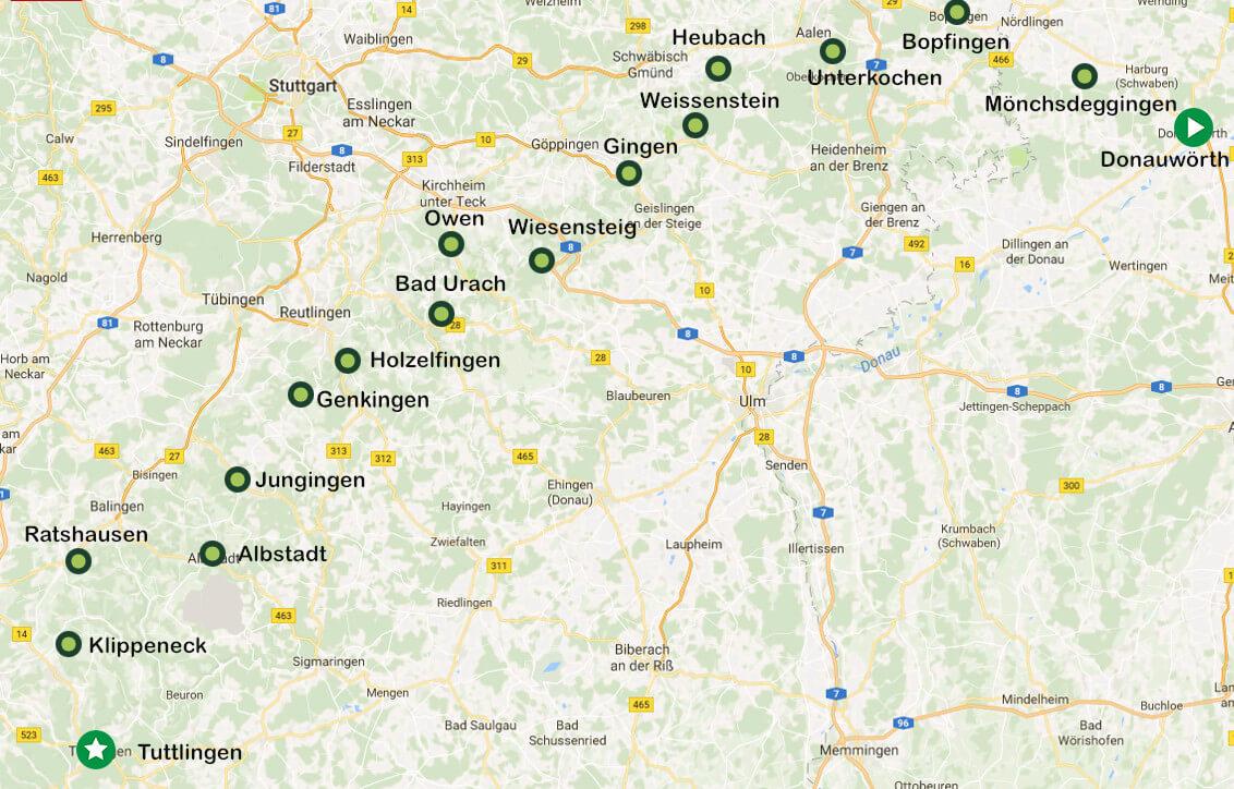 Wanderweg Albsteig - die Stationen des beliebten Wanderwegs