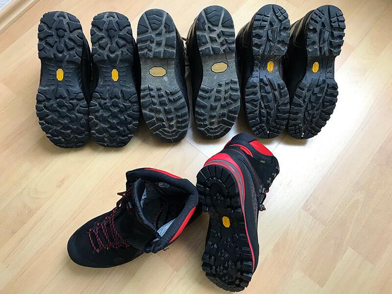 Die unterschiedlichen Sohlen der Schuhe
