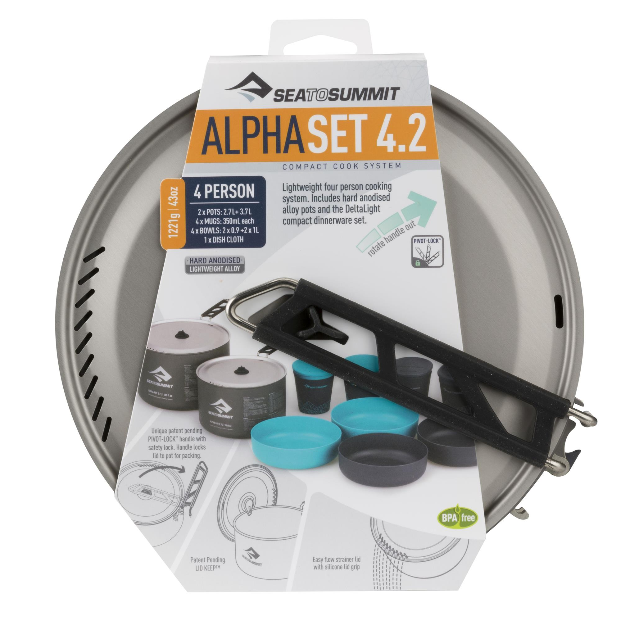sea to summit Alpha 2 Pot Cook Set 4.2 Kochset grau jetztbilligerkaufen
