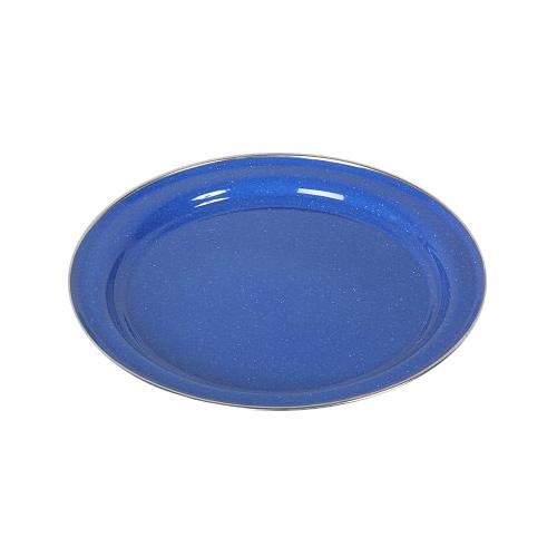 Emaille Teller, flach blau